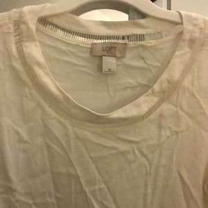 Cream/white silk loft peplum style blouse